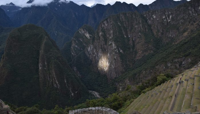 Photo with perfect sunlight at Machu Picchu in Cusco, Peru